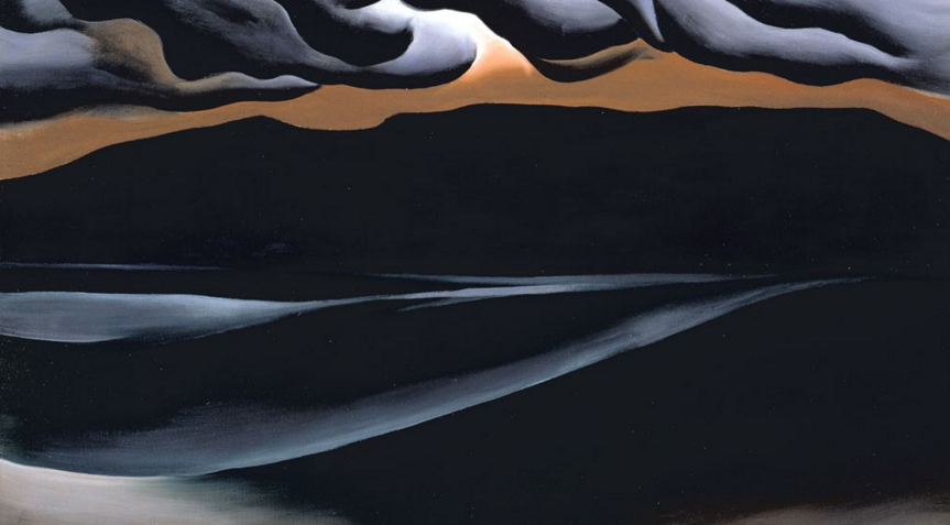 "Georgia O'Keeffe, Storm Cloud, Lake George, 1923. Oil on canvas, 18"" x 30"". Georgia O'Keeffe Museum."
