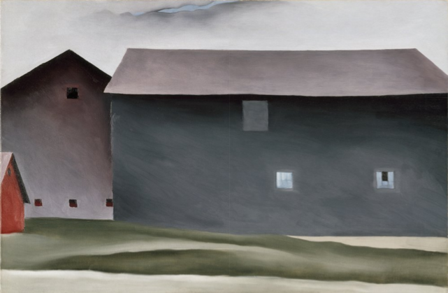 Georgia O'Keeffe, Lake George Barns, 1926. Oil on canvas, 21 x 31. Walker Art Center.