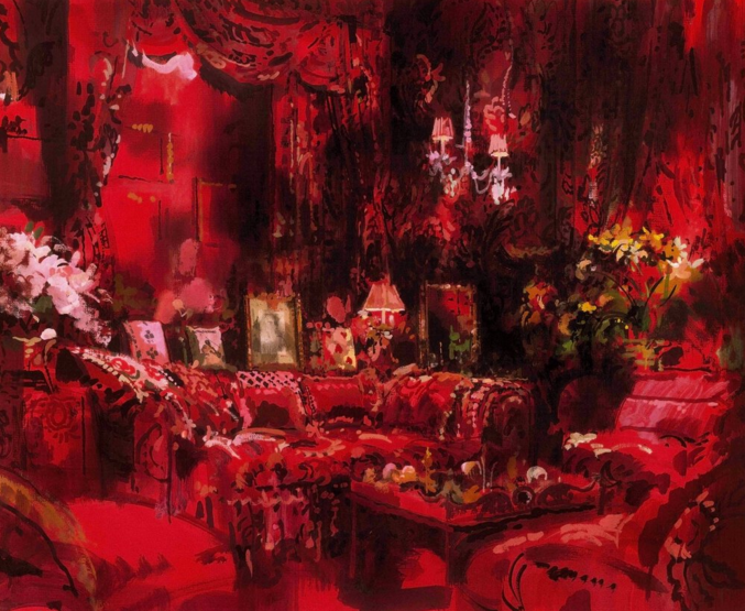"Diana Vreeland's ""garden in hell"" living room by Billy Baldwin on Stuffy Muffy"